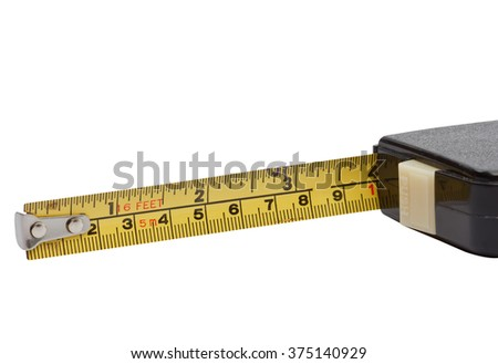 Macro closeup the old tape measure isolated with clipping path.