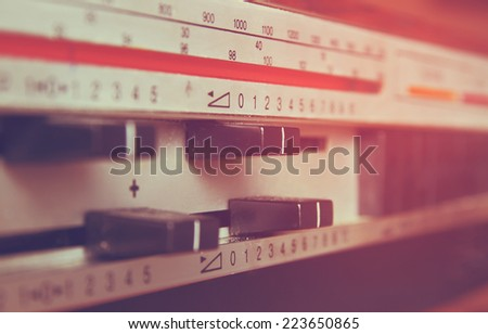 macro closeup vintage Amplifier dials. retro filtered image. selective Focus - stock photo