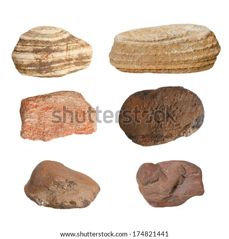 Macro - Collection Rocks isolated on white background, (high resolution) - stock photo