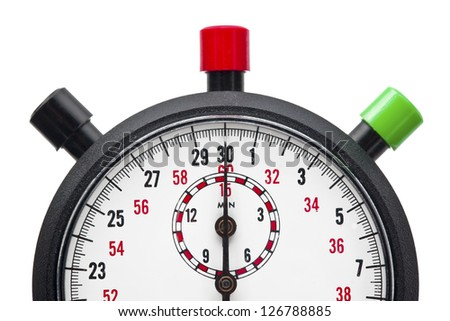 Macro cropped shot of a stopwatch with colorful push buttons against plain white background. - stock photo