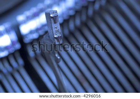 Macro detail of a vintage typewriter - stock photo