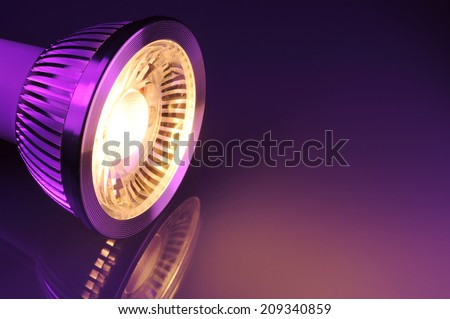 macro detail of a warmwhite COB-LED in violet spotlight  - stock photo