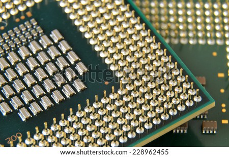 Macro detail of central processor unit (CPU) pins