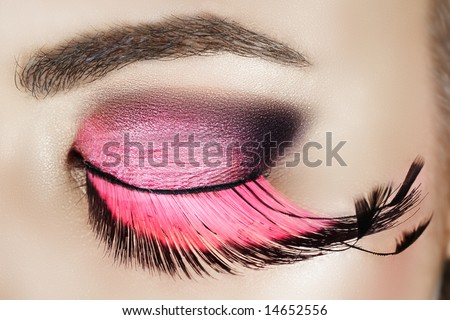 Macro eye of a woman with pink smoky eyeshadow with long feather false eyelashes - stock photo
