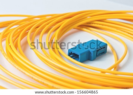 Macro Fiber optic patchcord LC on white background - stock photo