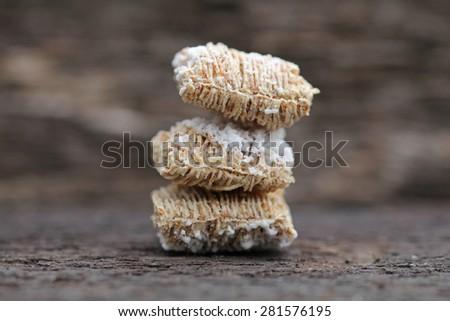 macro from breakfast cereals - stock photo