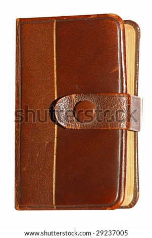 Macro front view book with leather bound - isolated (serie) - stock photo