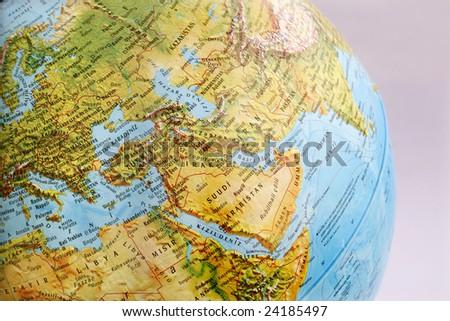 macro globe map in turkish - stock photo