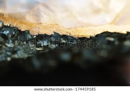 Macro Gold Nugget, Iron pyrite & smokey quartz, minerals  - stock photo