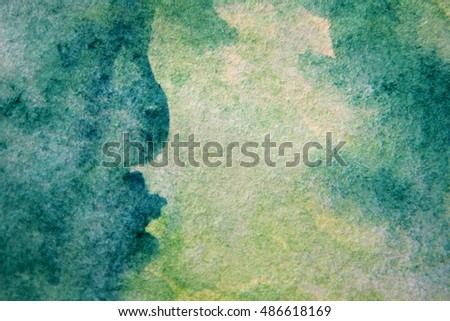 Macro Green with Blue Watercolour Textures 11