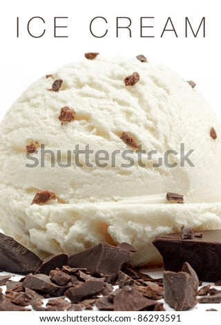 Macro ice cream scoop and chocolate chips on white background