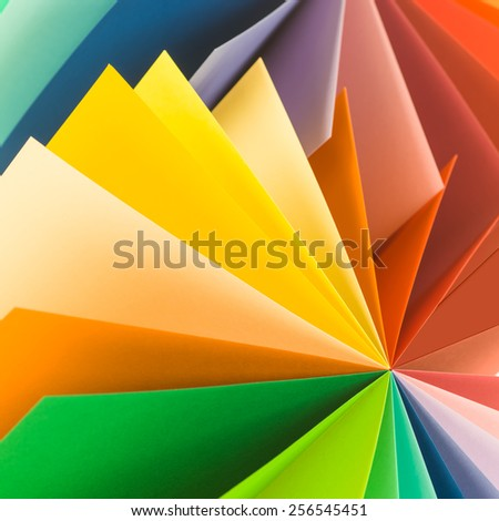 macro image, abstract background with colorful paper - stock photo