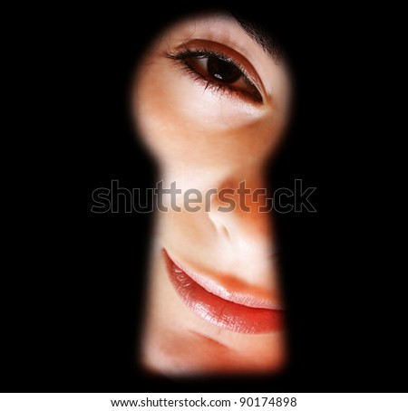 Macro image of a beautiful girl face - stock photo