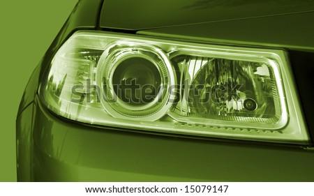 Macro image of a green car - stock photo