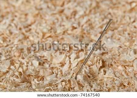 Macro image of a needle in a haystack with focus on the needle. - stock photo