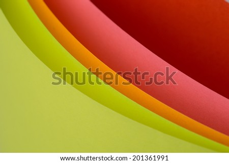 Macro image of colorful curved sheets of paper