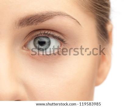 Macro image of human eye - stock photo