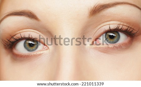 Macro image of human eye. Young Woman.