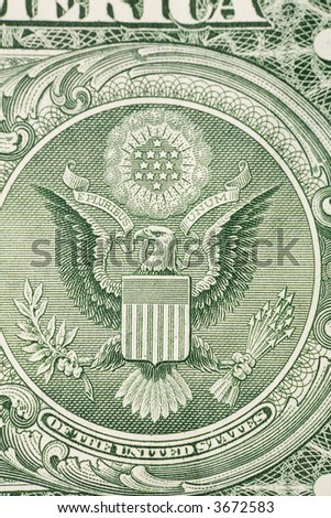 Macro image of one dollar bill, close up