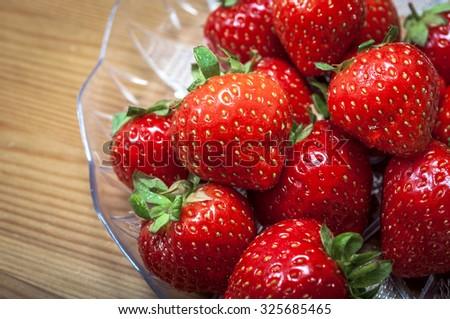 Macro image of strawberries - stock photo