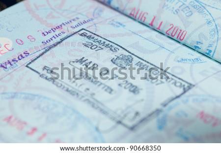 Macro Image Visa Immigration Stamps Us Stock Photo