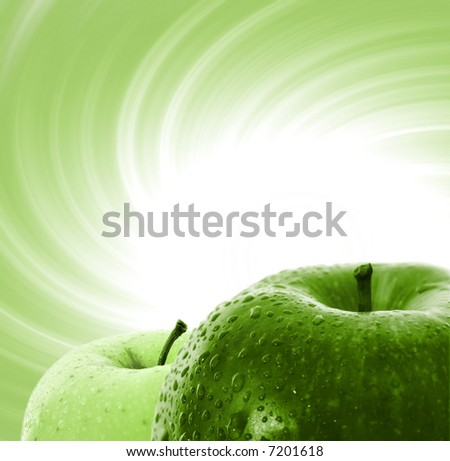 Macro image of yellow and red apple - stock photo