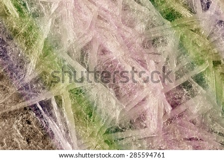 macro isolated texture of ice on the river in early spring in the sunlight  instagram filter - stock photo