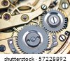 macro mechanical gear - stock photo