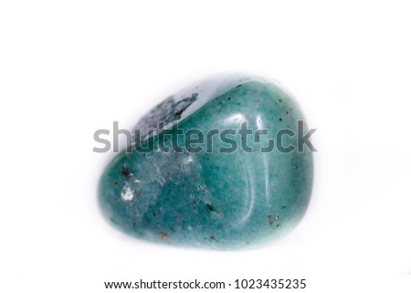 Macro mineral stone aventurine green on white background close up