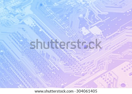 Macro motherboard blurry technology background vintage tone - stock photo
