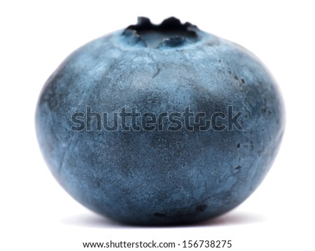 Macro of a blueberry isolated on white, selective focus - stock photo