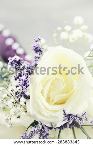 Macro of a brides maids bouquet with extreme shallow depth of field. - stock photo
