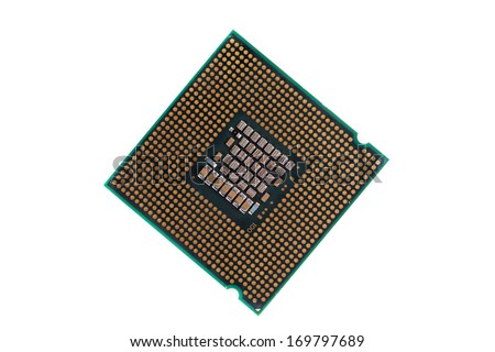 Macro of a computer's processor detail. Isolated on a white background. - stock photo
