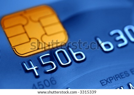 Macro of a credit card- shallow DOF - stock photo