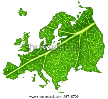 Macro of a green leaf cut out in the shape of Europe.