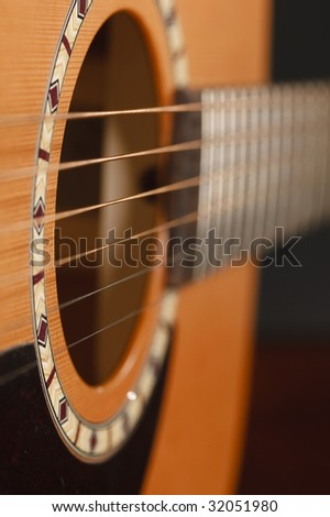 Macro of a guitar players fingers