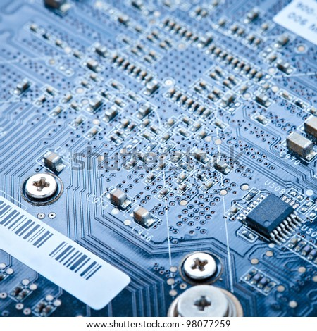 macro of a printed circuit board - stock photo