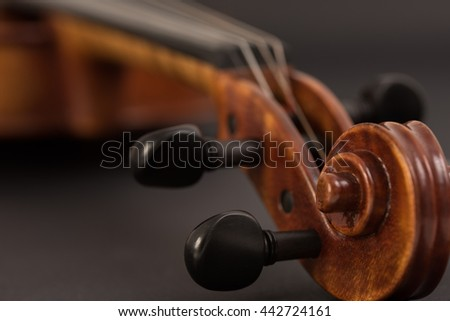 Macro of a violin on black background.