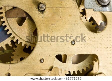 Macro of alarm-clock rack-wheels - stock photo