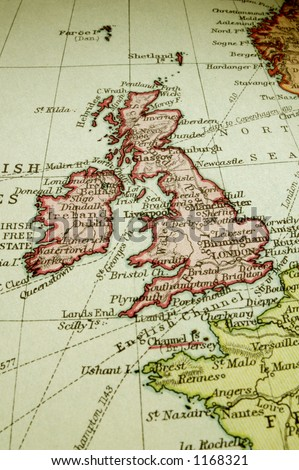 Macro of an old atlas map (about 100 years old) of the British Isles - England, Scotland, Wales and Ireland - with a bit of France and Norway too.