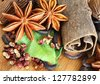 Macro of Assorted Spices used in Asian Cooking - stock photo