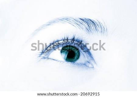 macro of beautiful human eye - stock photo