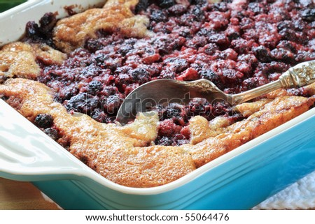 Macro of Blackberry Cobbler. Extreme shallow DOF with selective focus on lower corner of dish on golden crust and berries near spoon. - stock photo