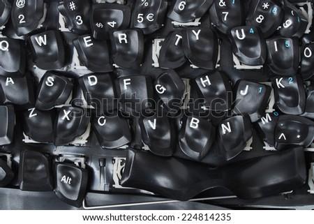 Macro of burned computer keyboard - stock photo