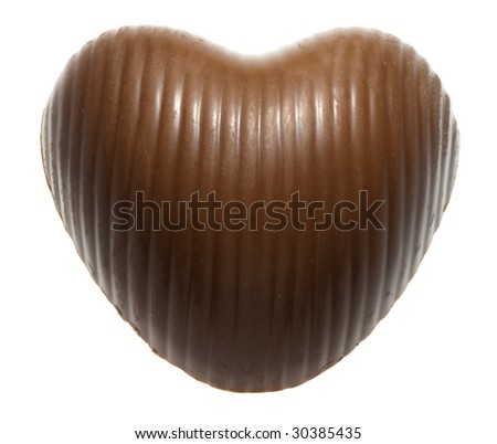 Macro of chocolate candy isolated on white - stock photo