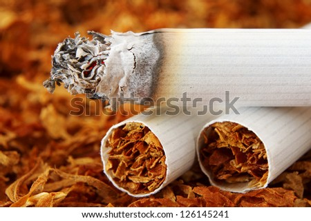 Macro of Cigarettes and Tobacco