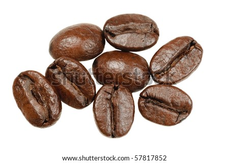 Macro of coffee beans isolated on white - stock photo