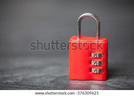 Macro of combination lock, Selective focus - stock photo