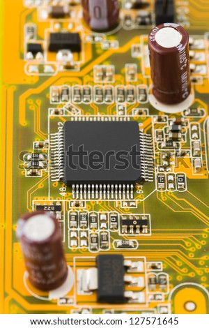 Macro of computer chip - technology background - stock photo