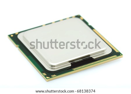 Macro of computer processor focused on front of device - stock photo